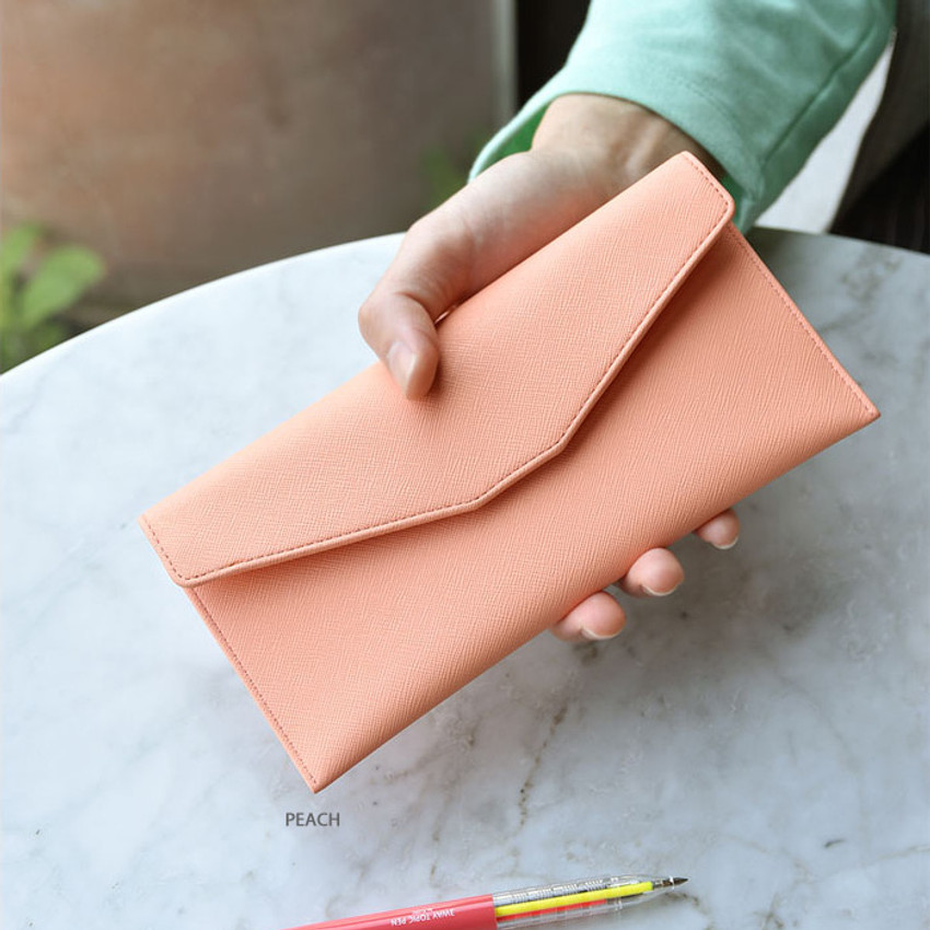 Peach - Play Obje Classy synthetic leather wallet pencil case