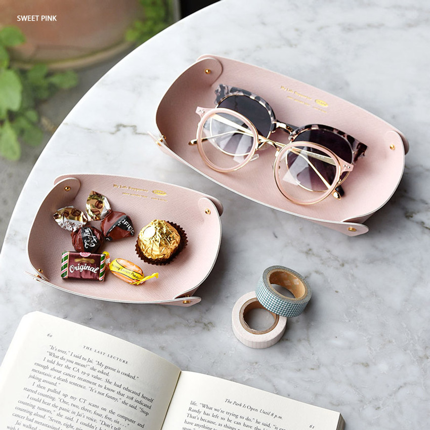 Sweet pink - Play Obje 2way synthetic leather DIY tray set