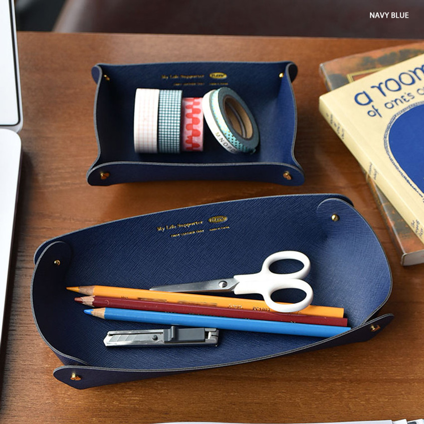 Navy blue - Play Obje 2way synthetic leather DIY tray set