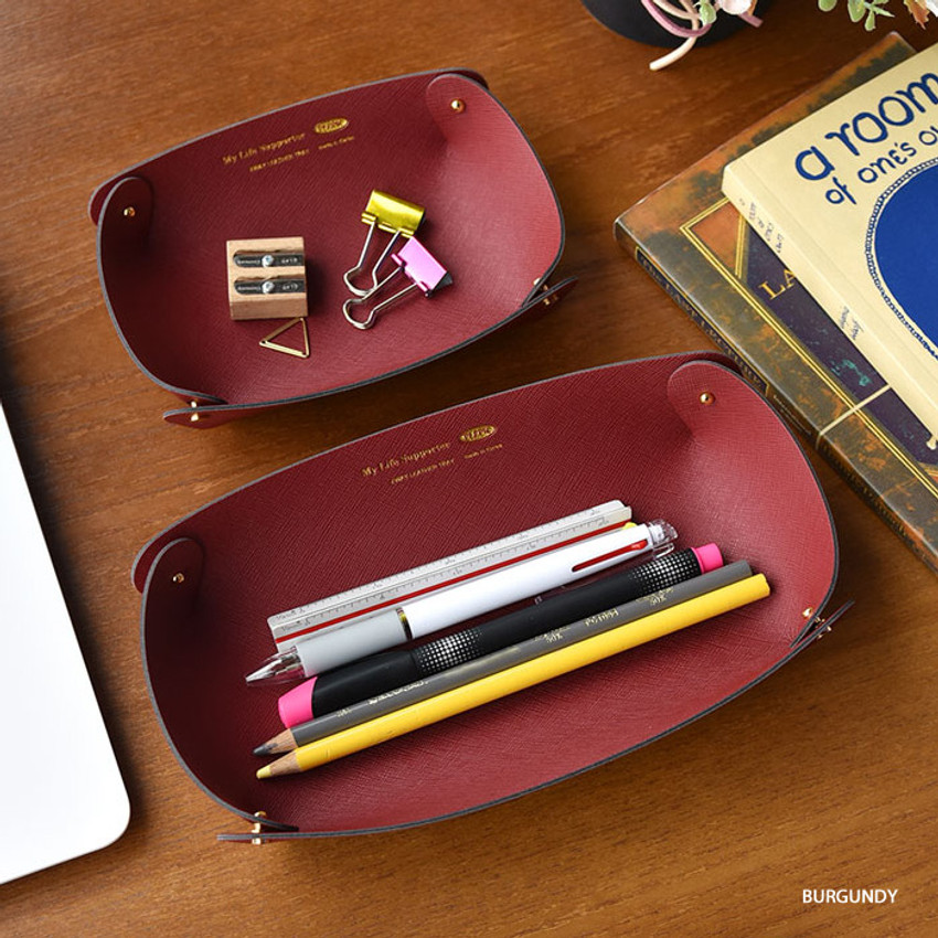 Burgundy - Play Obje 2way synthetic leather DIY tray set