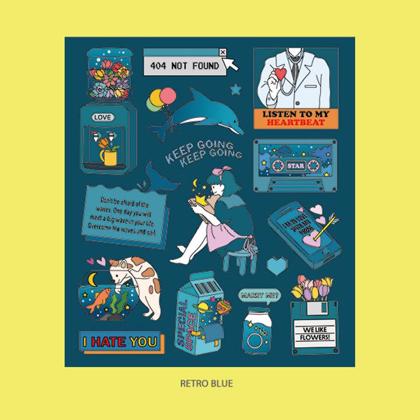 Retro Blue - Ardium Pop illustration colorful point paper sticker ver4