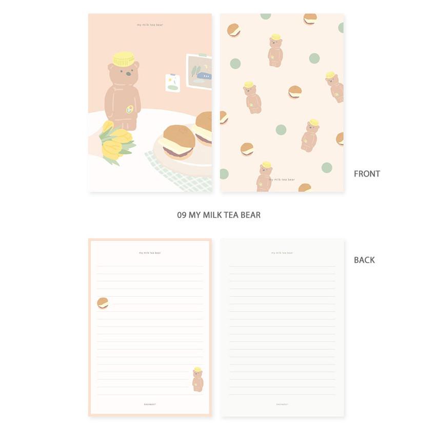 09 my milk tea bear - My illustration letter always thank you envelope set ver2