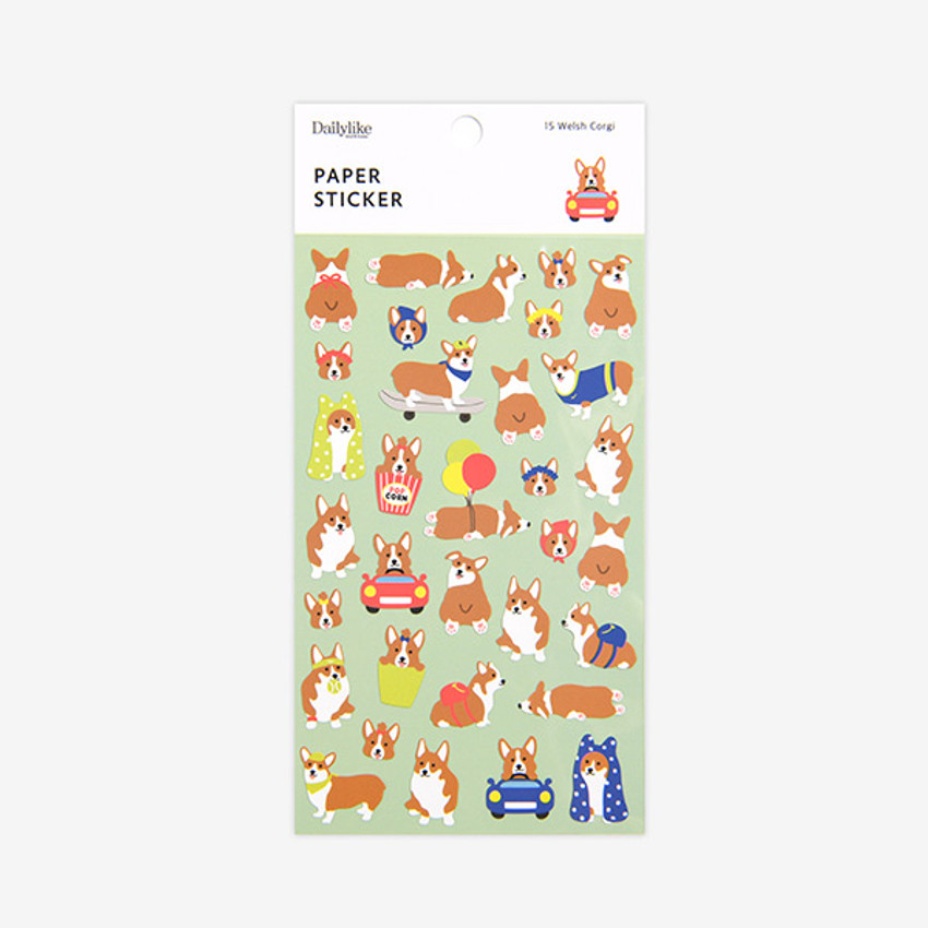 Package - For your heart paper adhesive sticker - Welsh Corgi