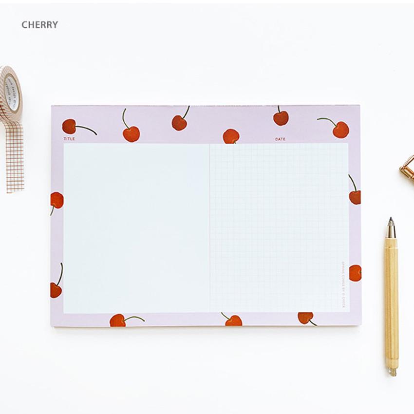 Cherry - O-CHECK Horizontal B5 study notes blank and grid notepad