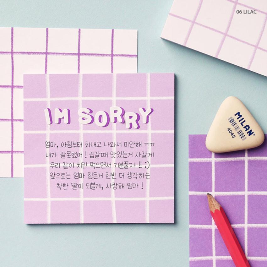 06 Lilac - Wanna This Crayon check 4 designs memo notes notepad