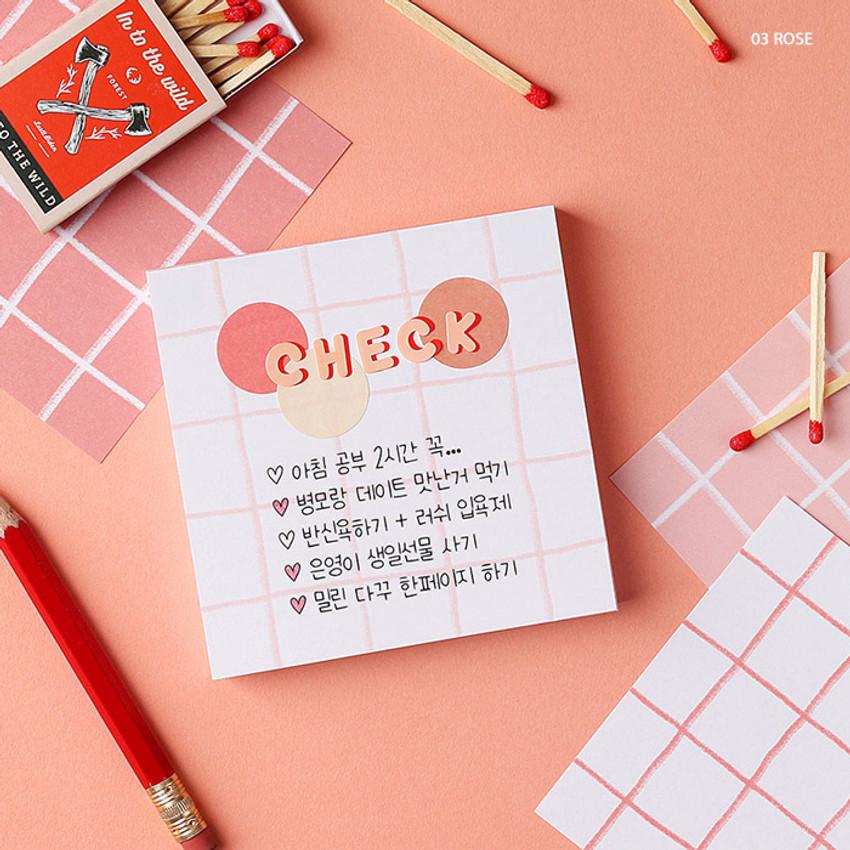 03 Rose - Wanna This Crayon check 4 designs memo notes notepad