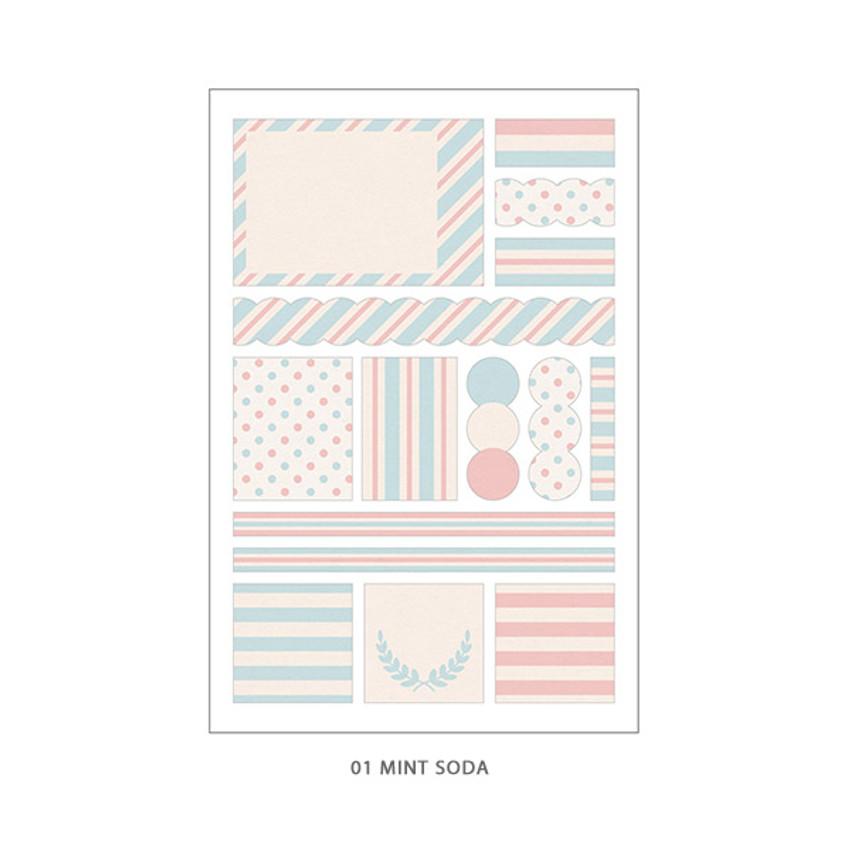 01 Mint Soda - PLEPLE Pattern paper deco sticker set