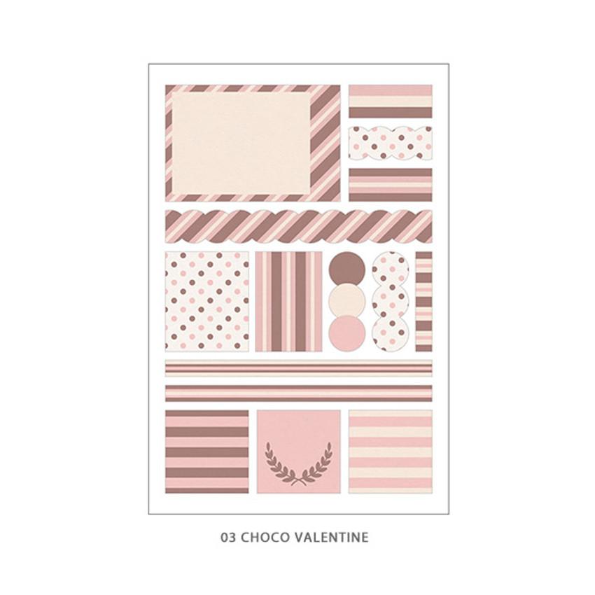 03 Choco Valentine - PLEPLE Pattern paper deco sticker set
