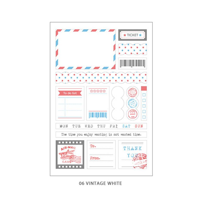 06 Vintage White - PLEPLE Pattern paper deco sticker set