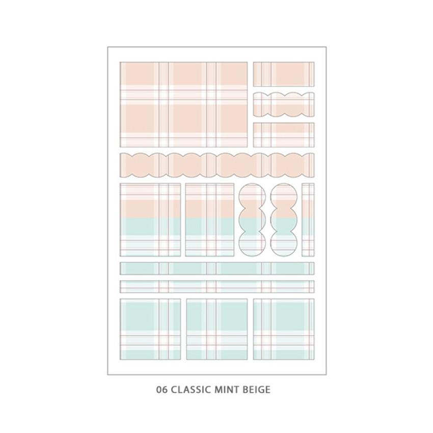 07 Classic Mint Beige - PLEPLE Check paper deco sticker set
