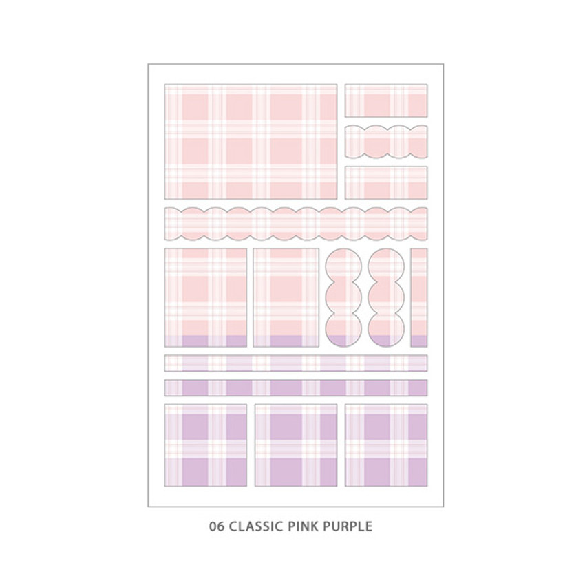 06 Classic Pink Purple - PLEPLE Check paper deco sticker set