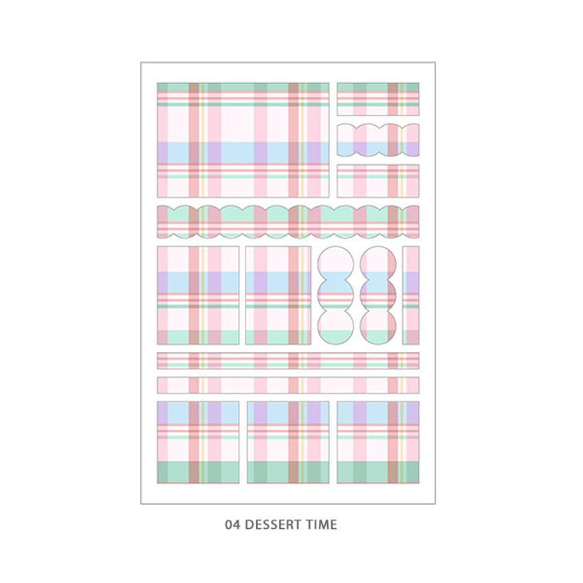 04 Dessert Time - PLEPLE Check paper deco sticker set