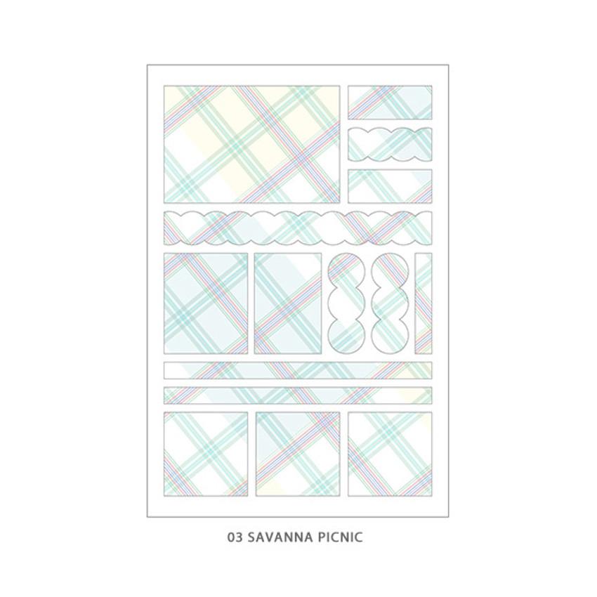 03 Savanna Picnic - PLEPLE Check paper deco sticker set