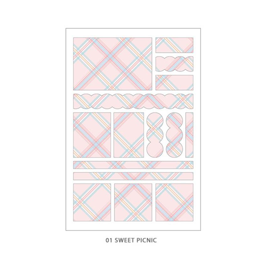 01 Sweet Picnic - PLEPLE Check paper deco sticker set