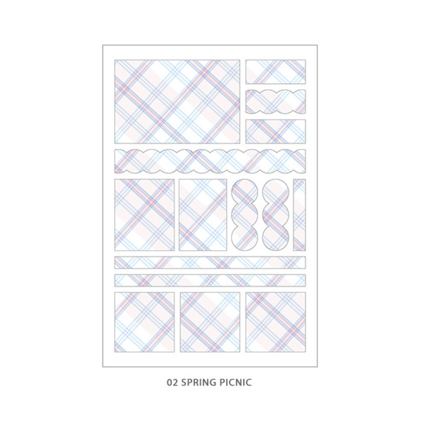 02 Spring Picnic - PLEPLE Check paper deco sticker set