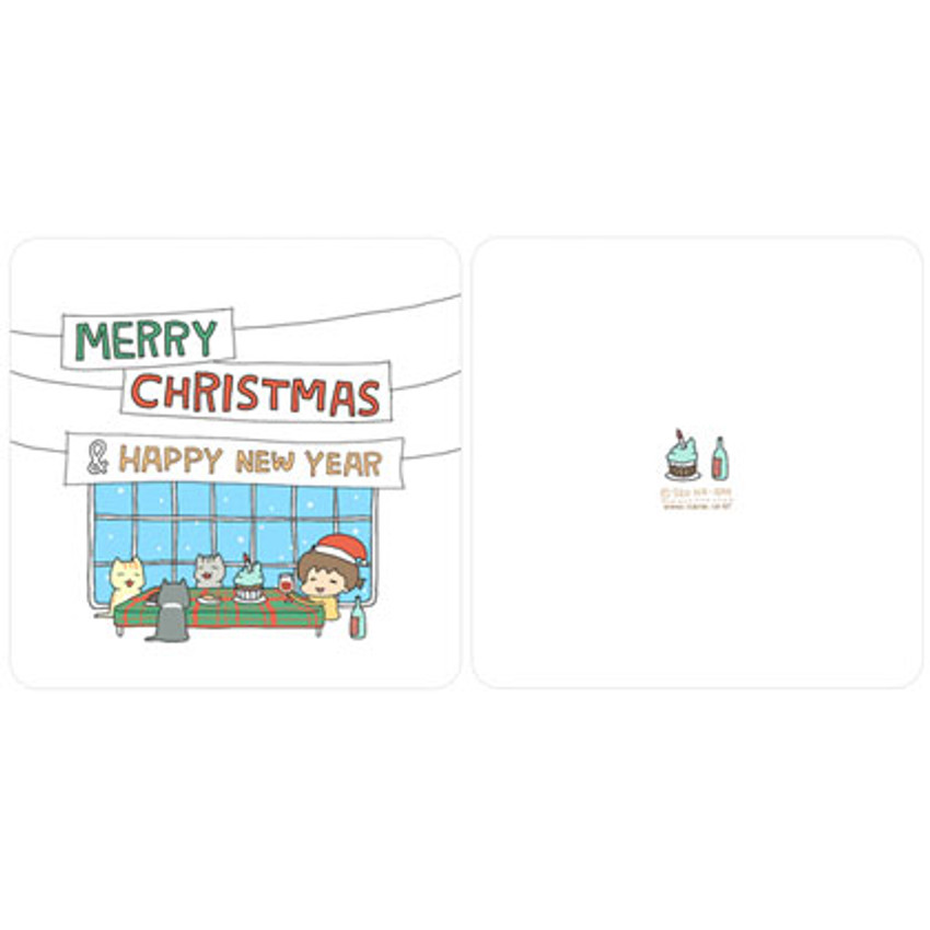 Outside of Merry christmas & Happy new year card