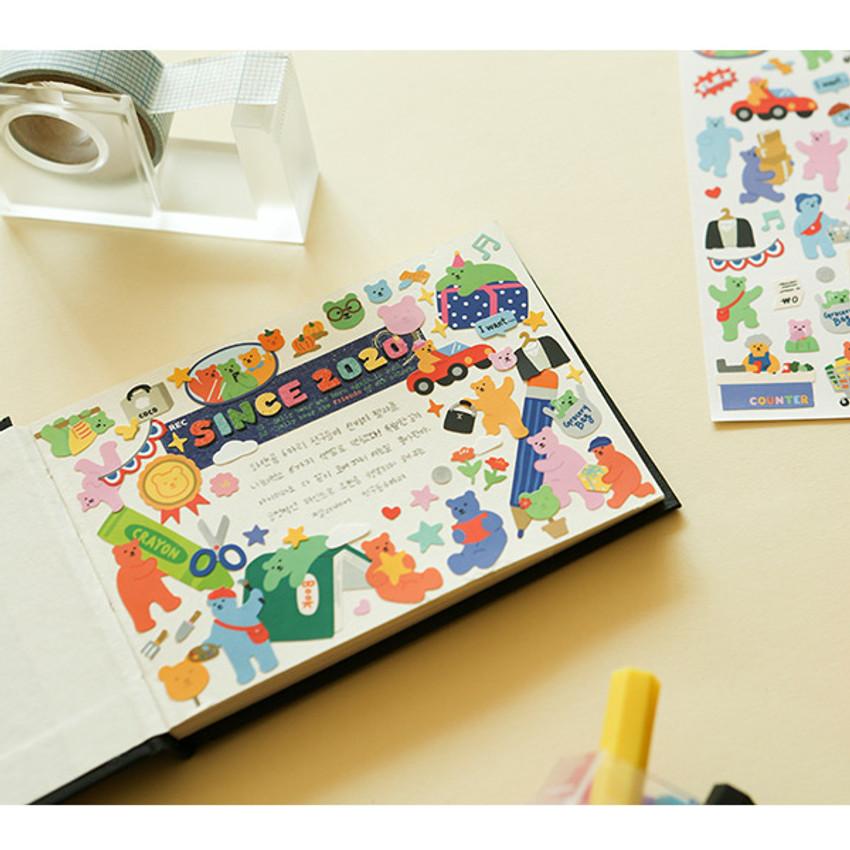 Usage example - Dailylike Jelly bear Study paper removable sticker