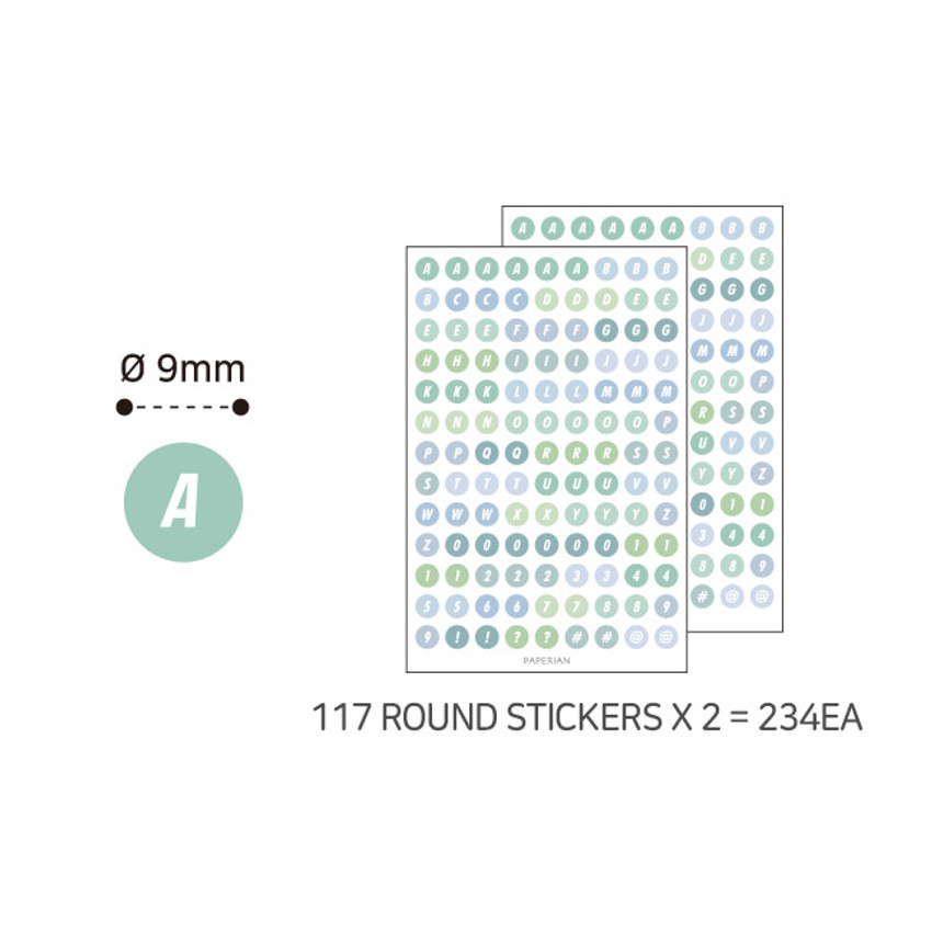2 sheets - PAPERIAN Color palette Alphabet and Number deco sticker set