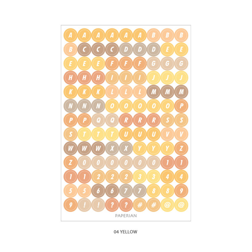 04 Yelllow - PAPERIAN Color palette Alphabet and Number deco sticker set
