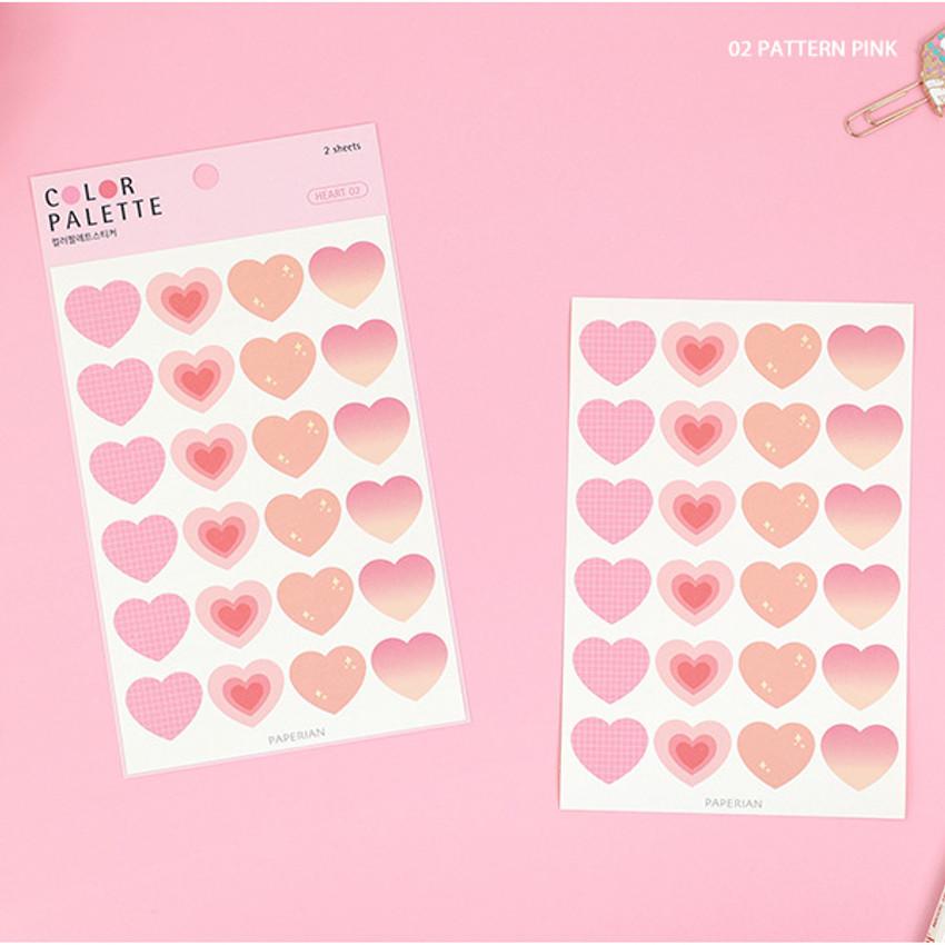 02 Pattern Pink - PAPERIAN Color palette Heart deco sticker set