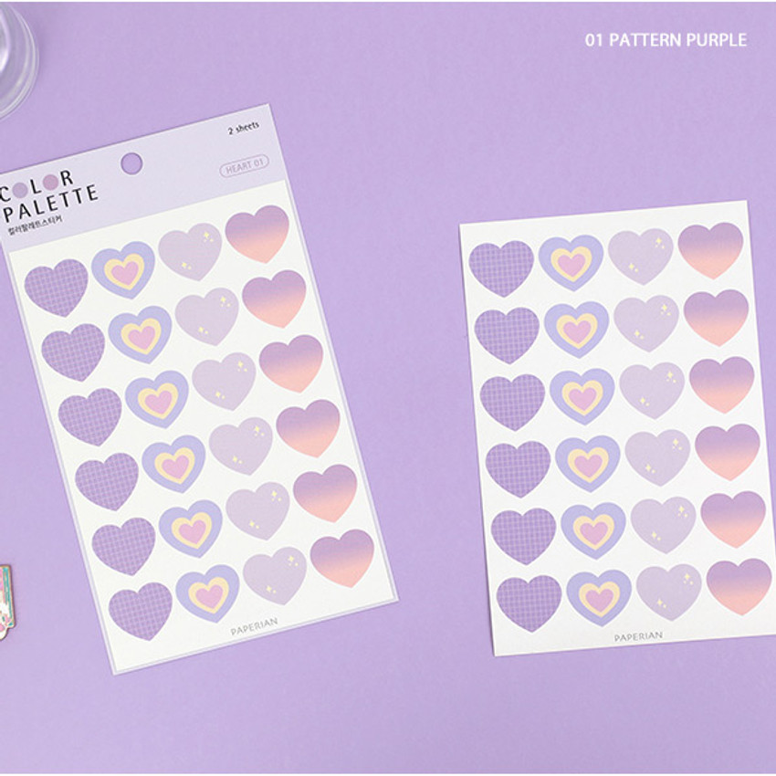 01 Pattern Purple - PAPERIAN Color palette Heart deco sticker set