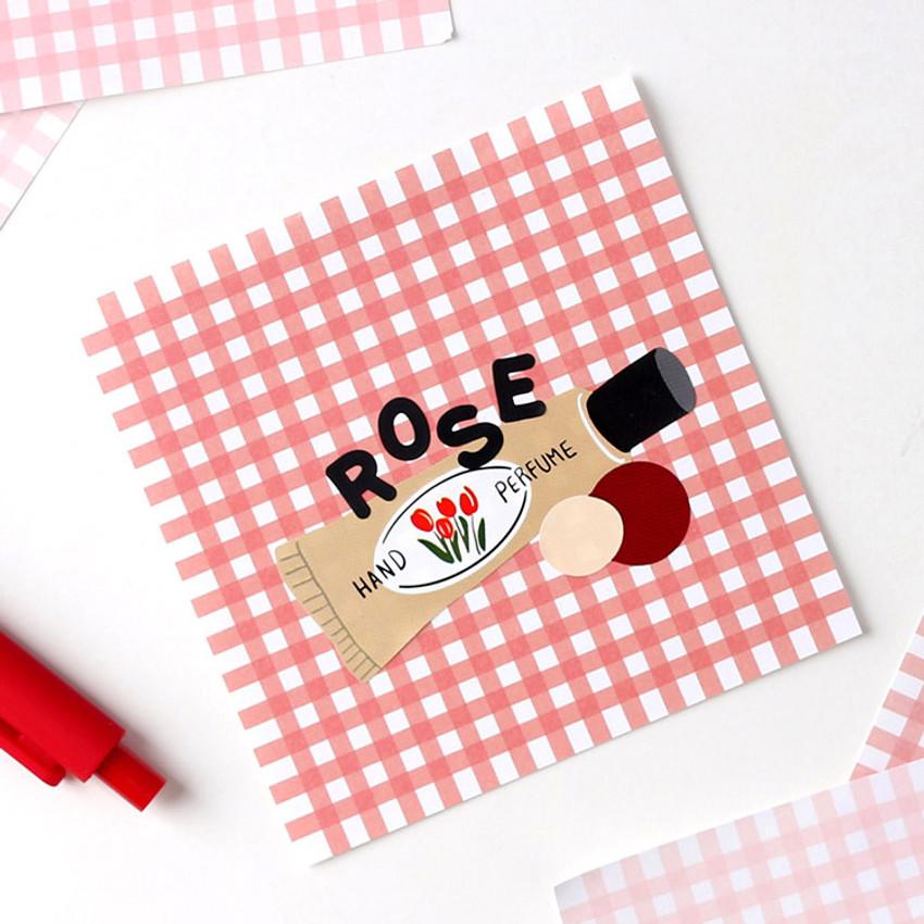 Rose - Wanna This Picnic 3mm check 4 designs memo notes notepad