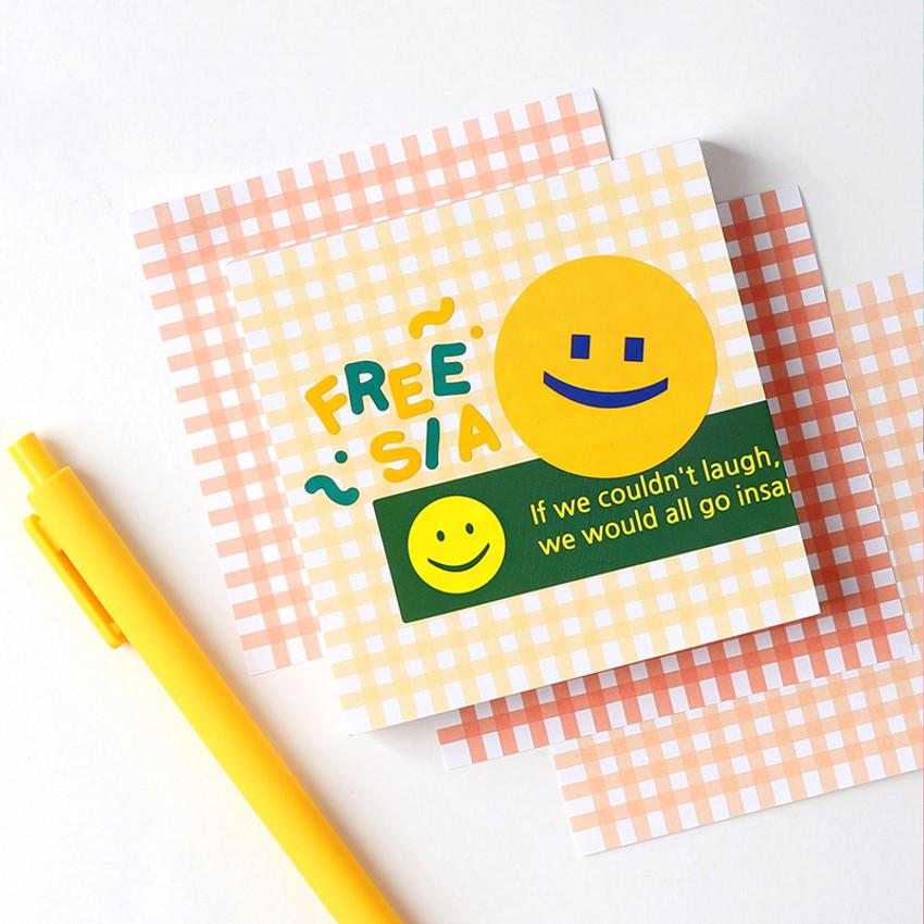 Freesia - Wanna This Picnic 3mm check 4 designs memo notes notepad