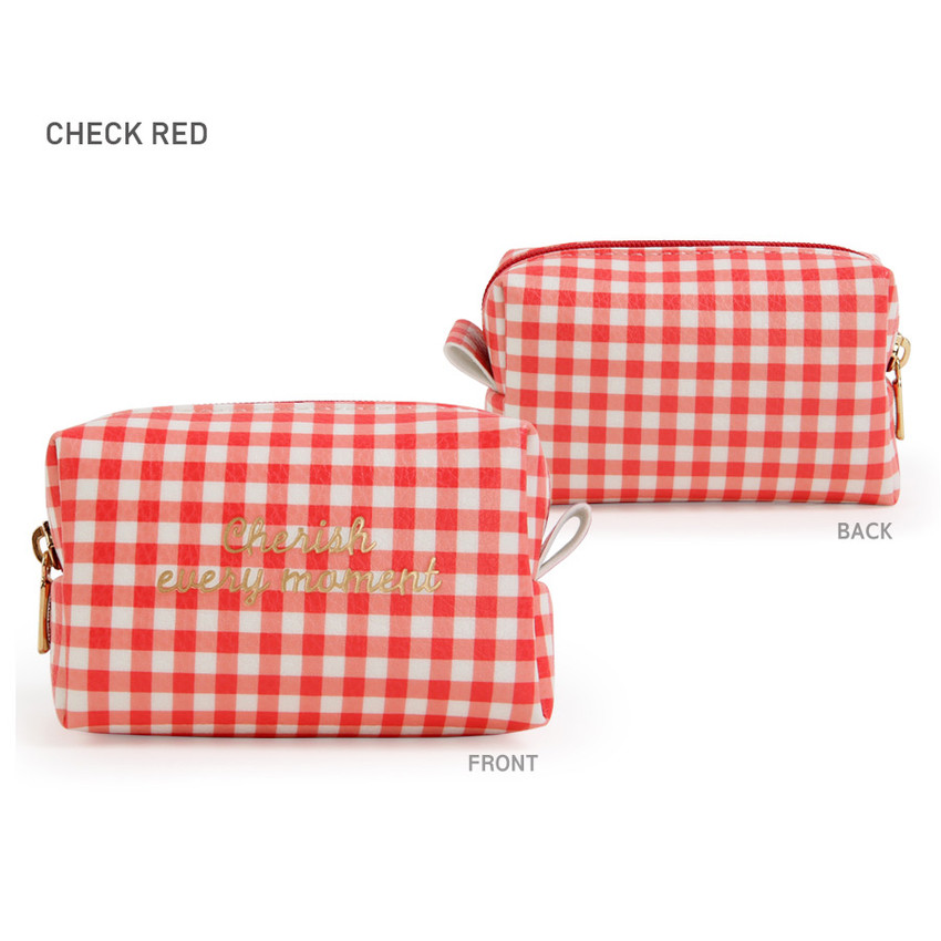 Check Red - Monopoly Cherish every moment small PU zipper pouch case