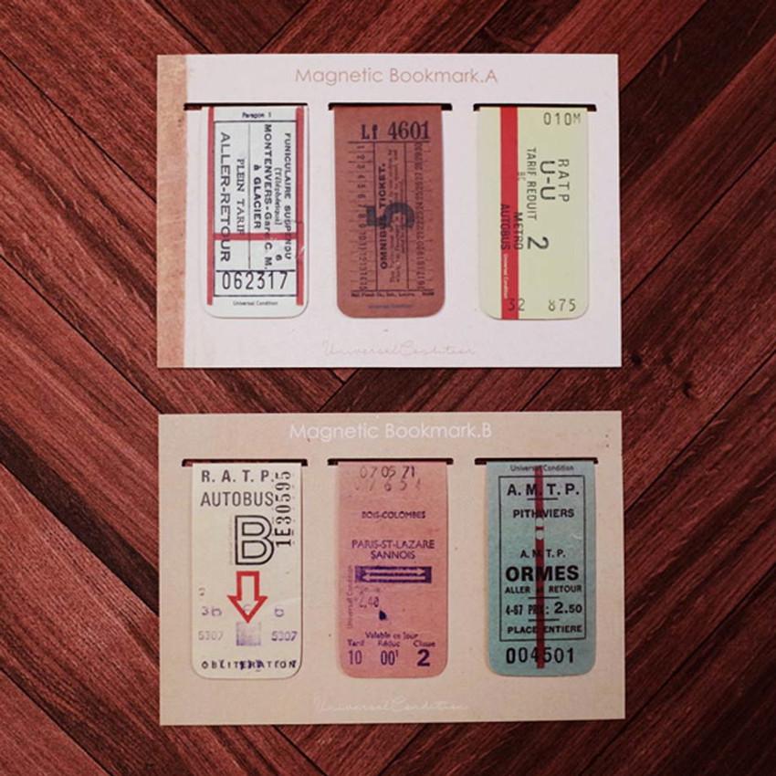 UNIVERSAL CONDITION Vintage ticket magnet bookmark set