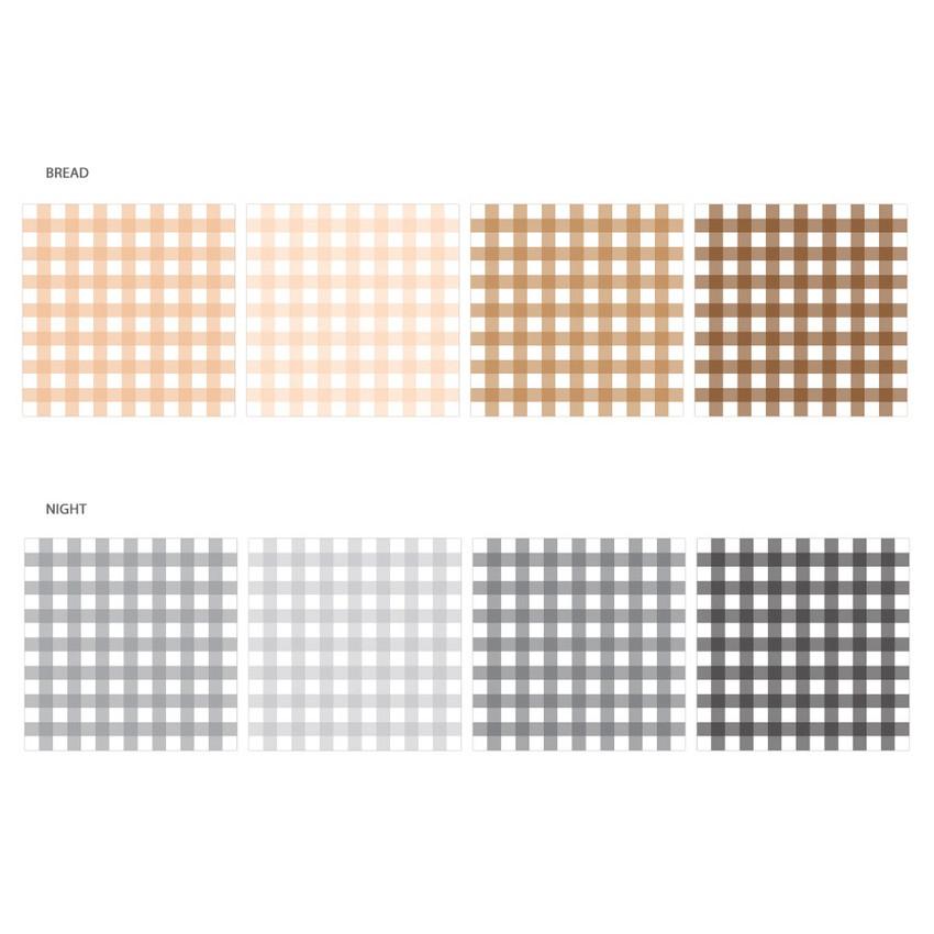 Color - Wanna This Picnic 6mm check 4 designs memo notepad