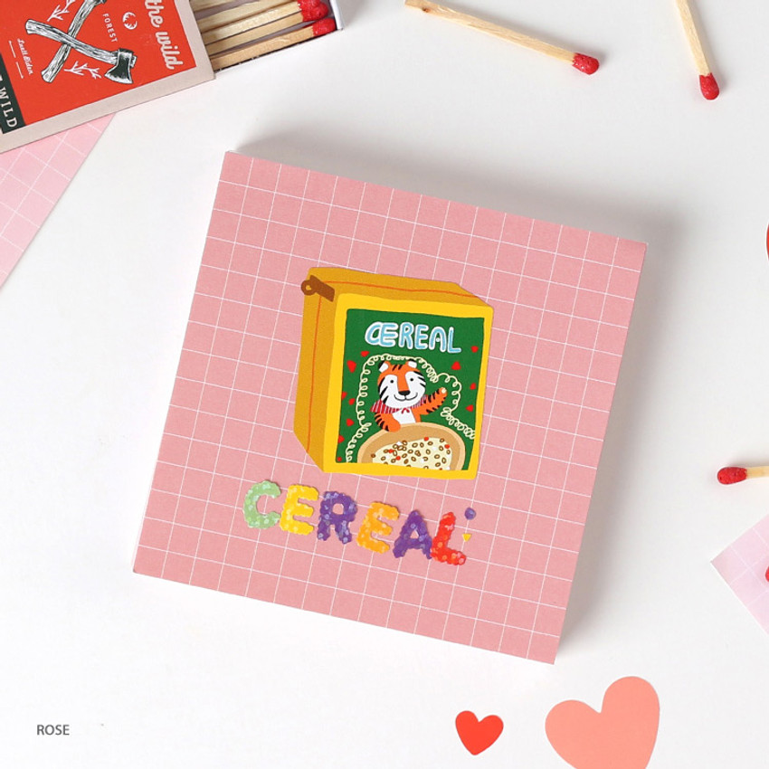 Rose - Wanna This Palette 6mm grid 4 designs memo notepad
