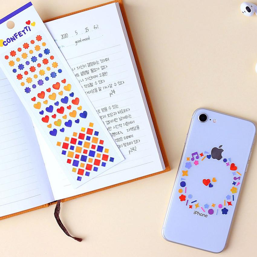 Usage example - Wanna This Confetti aurora pearl mini deco sticker 01