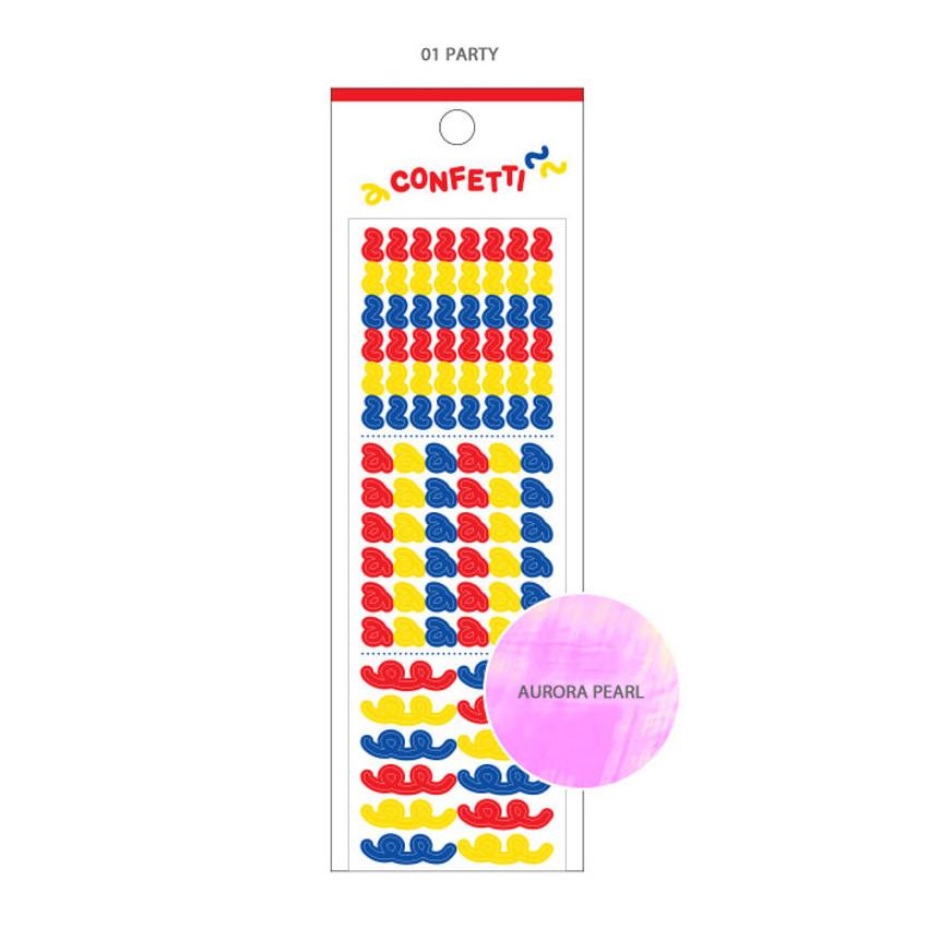 01 Party -Wanna This Confetti aurora pearl mini deco sticker 01