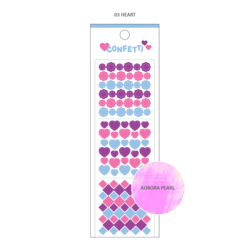 03 Heart - Wanna This Confetti aurora pearl mini deco sticker 02
