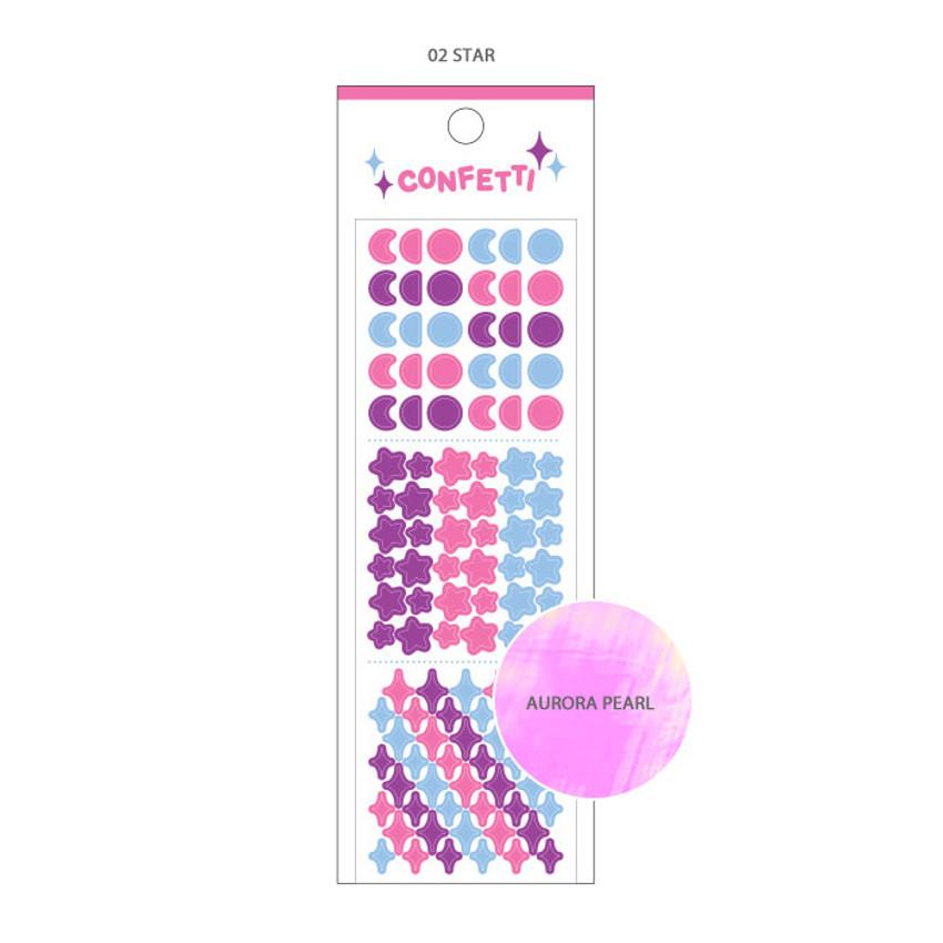02 Star - Wanna This Confetti aurora pearl mini deco sticker 02