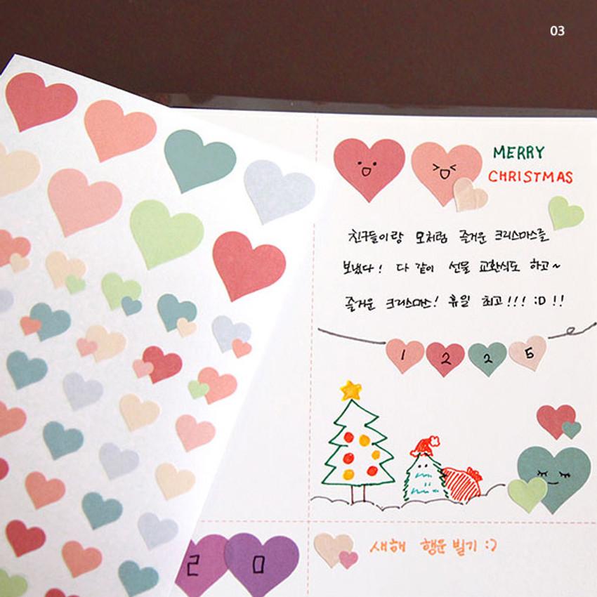 03 - PLEPLE Love in Life paper deco sticker 2 sheets