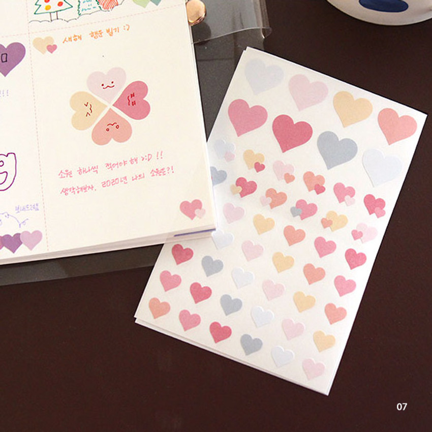 07 - PLEPLE Love in Life paper deco sticker 2 sheets