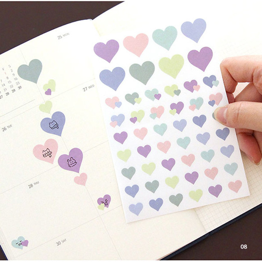 08 - PLEPLE Love in Life paper deco sticker 2 sheets