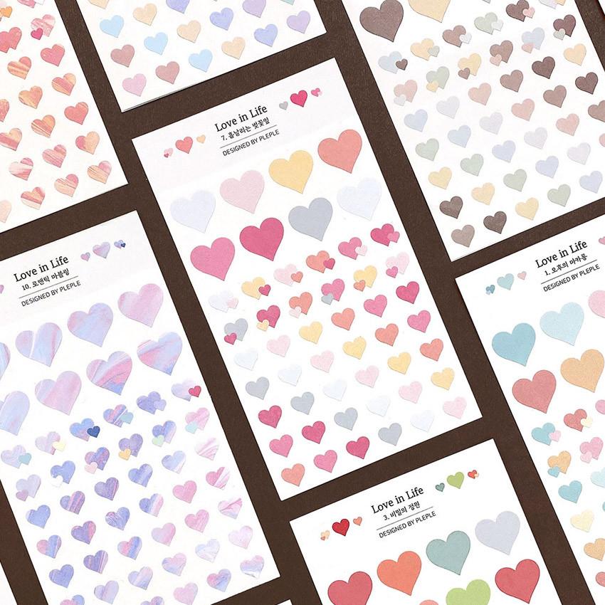 PLEPLE Love in Life paper deco sticker 2 sheets