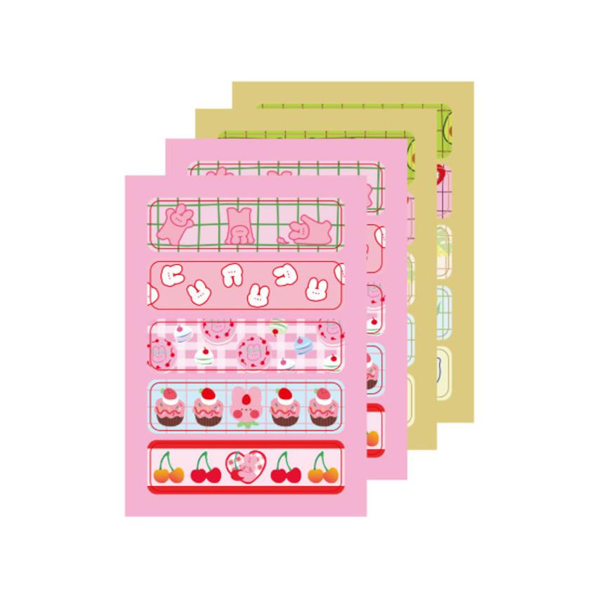 4 sheets - DESIGN GOMGOM Cute masking deco sticker seal