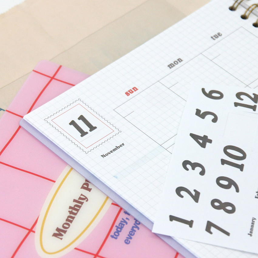 Comes with a sticker sheet - Reeli 6 months dateless monthly planner notebook