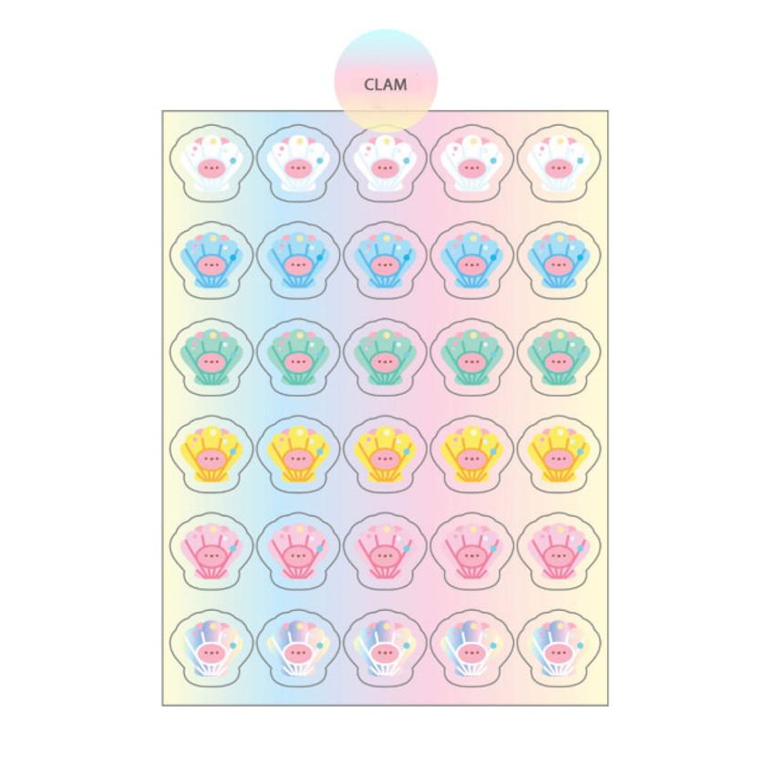 Clam - DESIGN GOMGOM Reeli face clear deco sticker 2 sheets