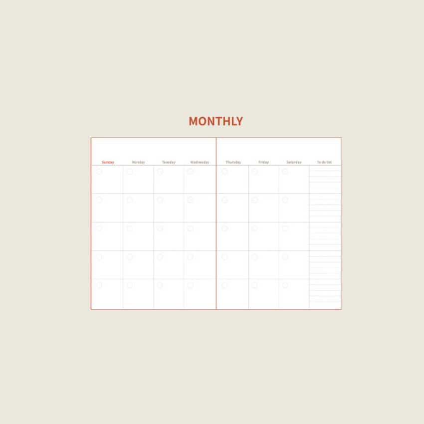 Monthly plan - DESIGN GOMGOM Seize the day dateless weekly planner