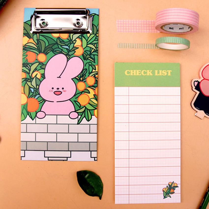 Fresh Orange - Reeli clipboard memo holder with checklist notepad