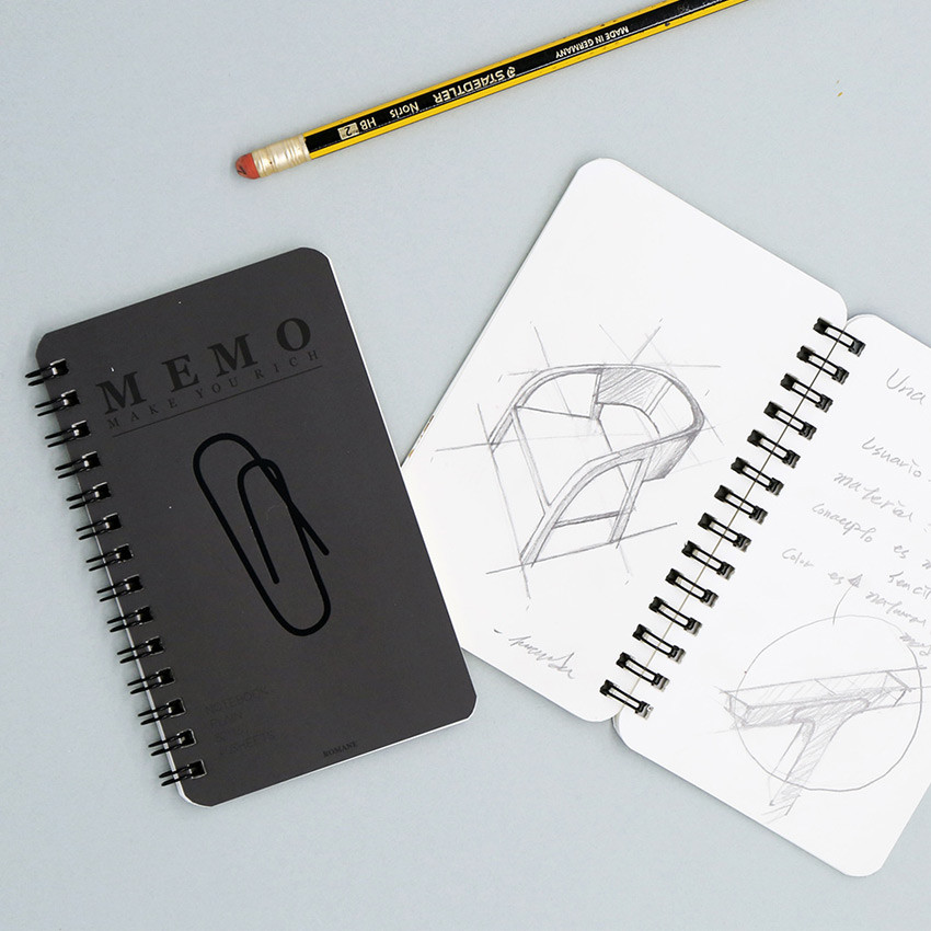 Black - ROMANE Signature spiral bound mini blank notebook