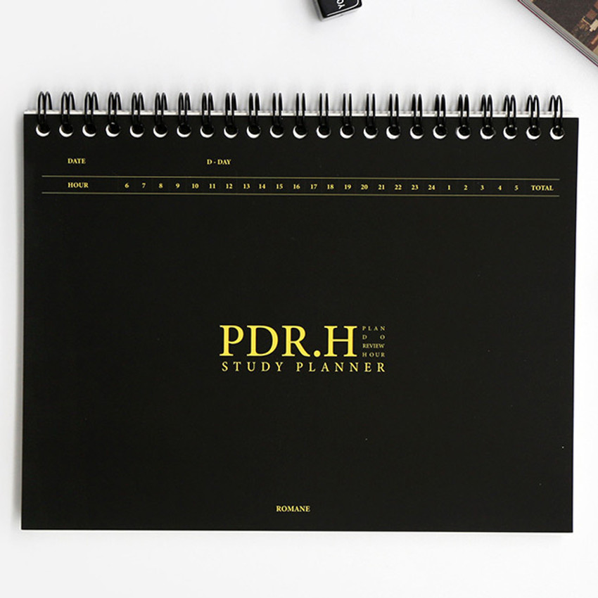Black - Signature PDR.H spiral bound dateless daily study planner