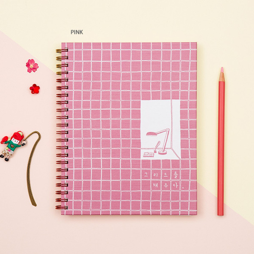 Pink - Ardium Grid spiral bound dateless weekly study planner