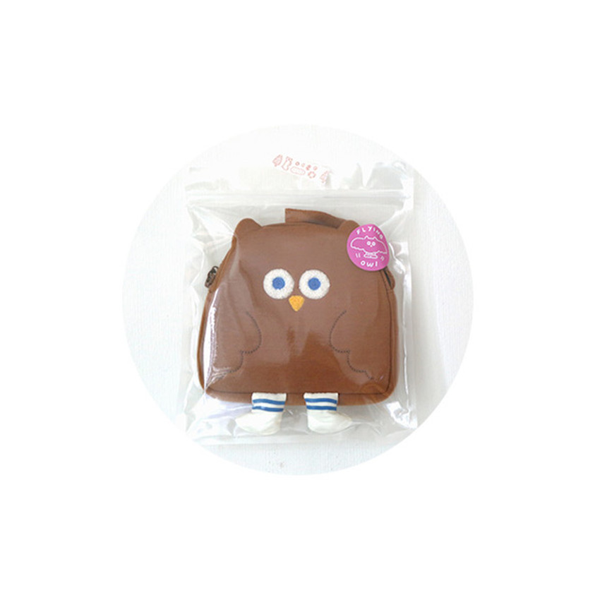Package - ROMANE Brunch Brother Fly owl zipper pouch with strap