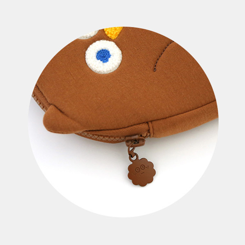 Zip closure - ROMANE Brunch Brother Fly owl zipper pouch with strap
