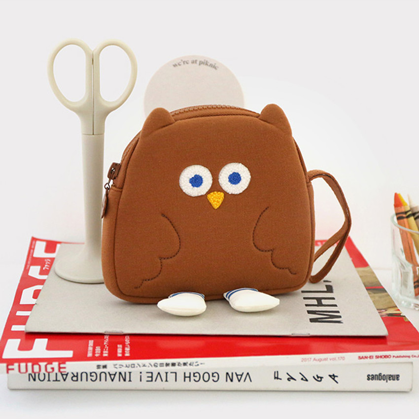 ROMANE Brunch Brother Fly owl zipper pouch with strap